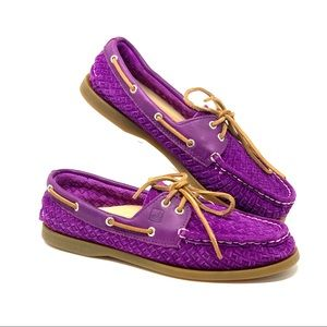 Sperry Top Sider   Purple Suede Leather Boat Shoes